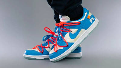 Off-White x Nike SB Dunk Low UNC On Foot 1