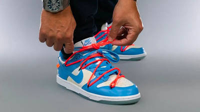 Off-White x Nike SB Dunk Low UNC On Foot Front