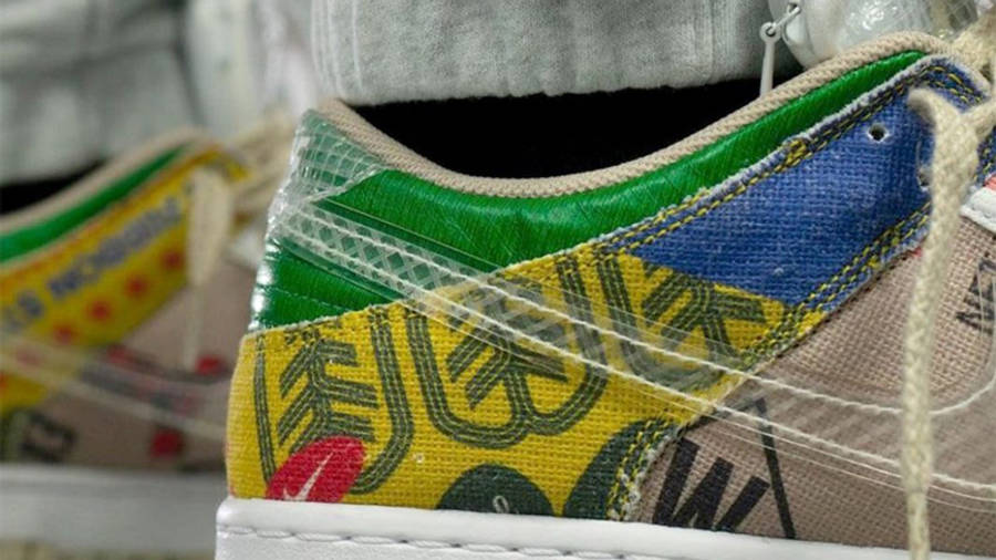 Nike Dunk Low Thank You For Caring On Foot Back Closeup