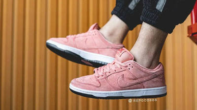 Nike SB Dunk Low Pink Pig On Foot In Air
