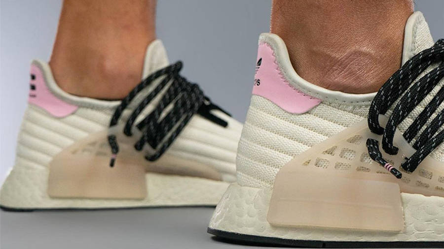 Pharrell x adidas NMD Hu Cream Blue Pink Back Closeup