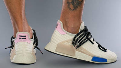 Pharrell x adidas NMD Hu Cream Blue Pink On Foot Back