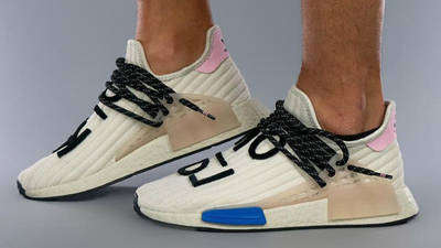 Pharrell x adidas NMD Hu Cream Blue Pink On Foot Side