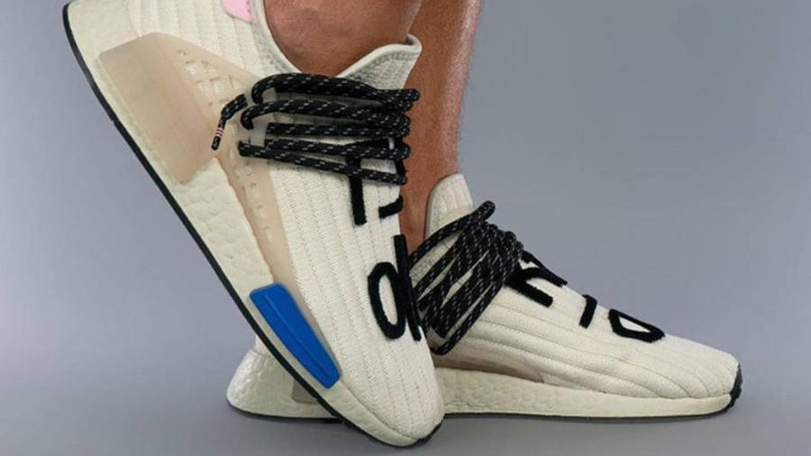 Pharrell x adidas NMD Hu Cream Blue Pink On Foot