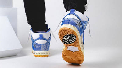 Carpet Company x Nike Dunk High White Royal Pulse on foot back