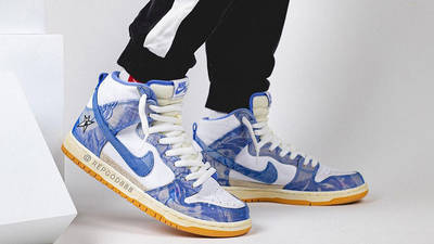 Carpet Company x Nike Dunk High White Royal Pulse on foot front side