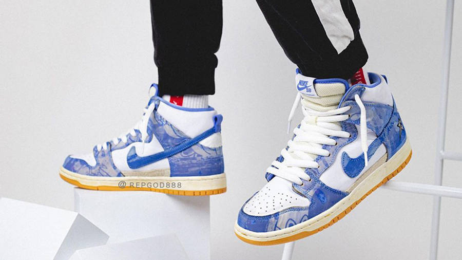 Carpet Company x Nike Dunk High White Royal Pulse on foot side