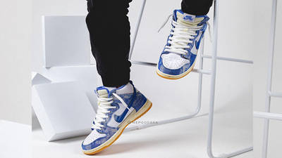 Carpet Company x Nike Dunk High White Royal Pulse on foot tongue area