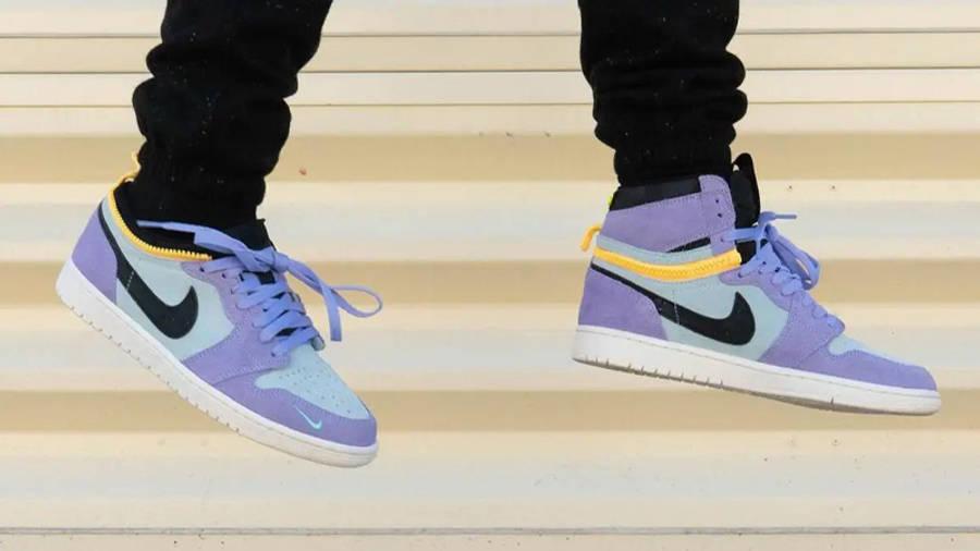 Jordan 1 Switch Purple Pulse On Foot In Air