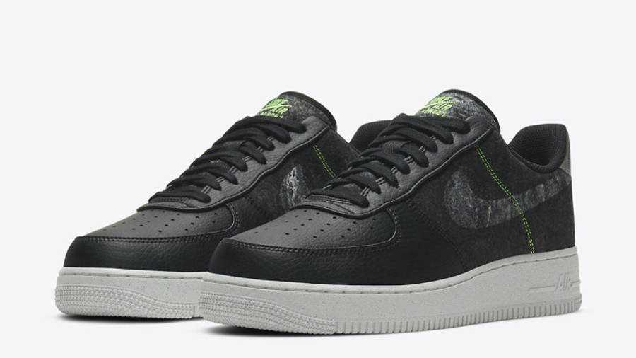 Nike Air Force 1 07 LV8 Recycled Black Electric Green Front