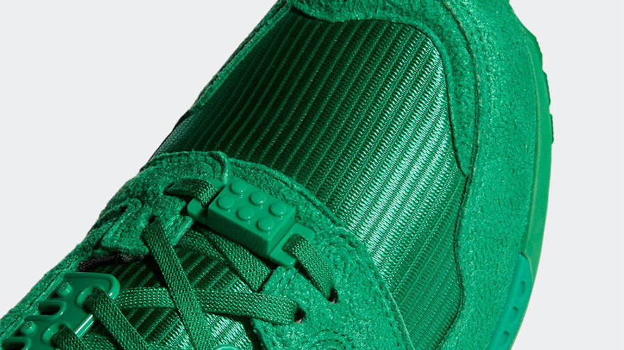LEGO x adidas ZX 8000 Green White Closeup