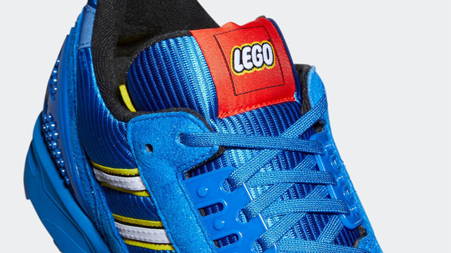 LEGO x adidas ZX 8000 Royal Blue Closeup