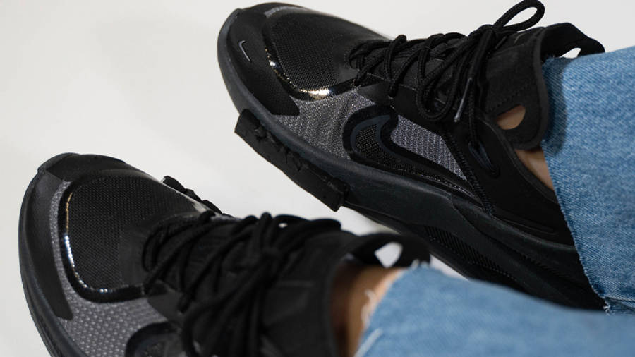 Nike Fontanka Edge Triple Black On Foot Closeup