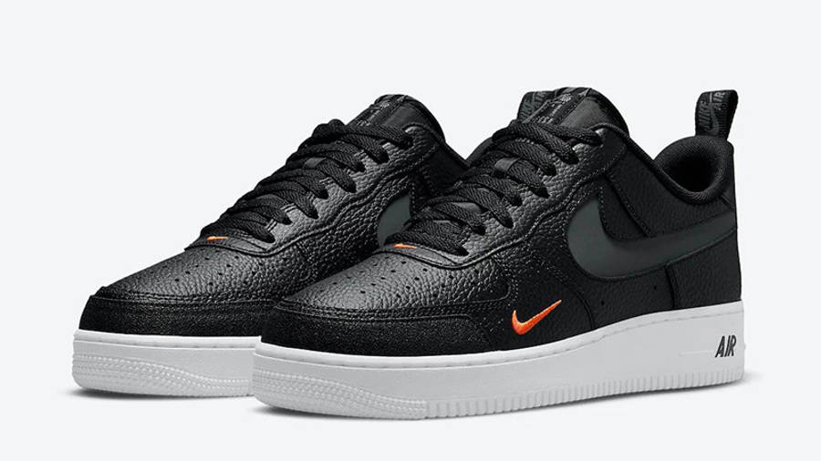 Nike Air Force 1 07 LV8 Black Orange DJ6887-001 front