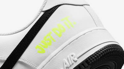 Nike Air Force 1 Just Do It White Black Closeup