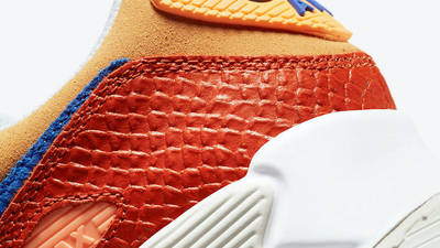 Nike Air Max 90 Snakeskin Campfire Orange Closeup