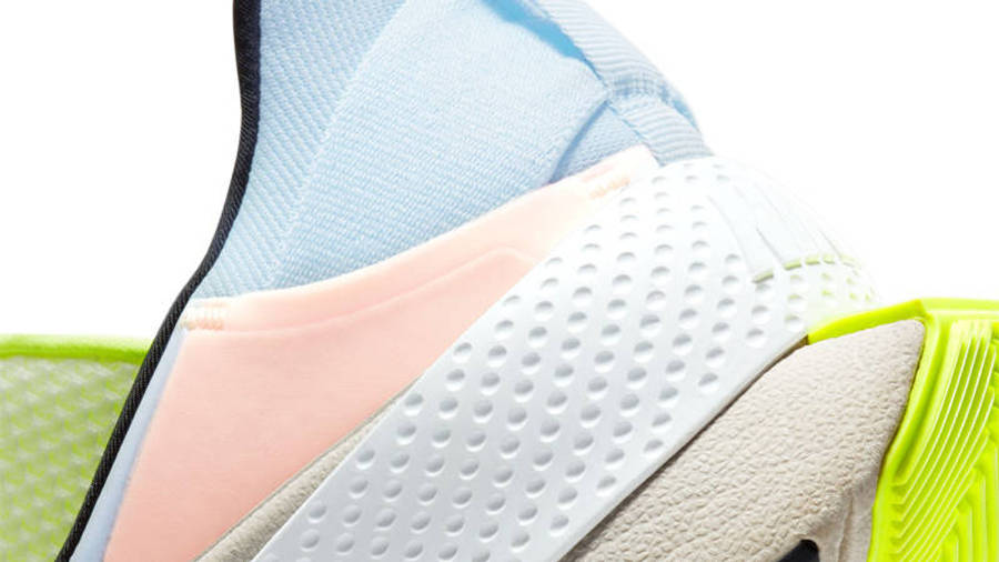 Nike GO FlyEase White Celestine Blue Volt Closeup