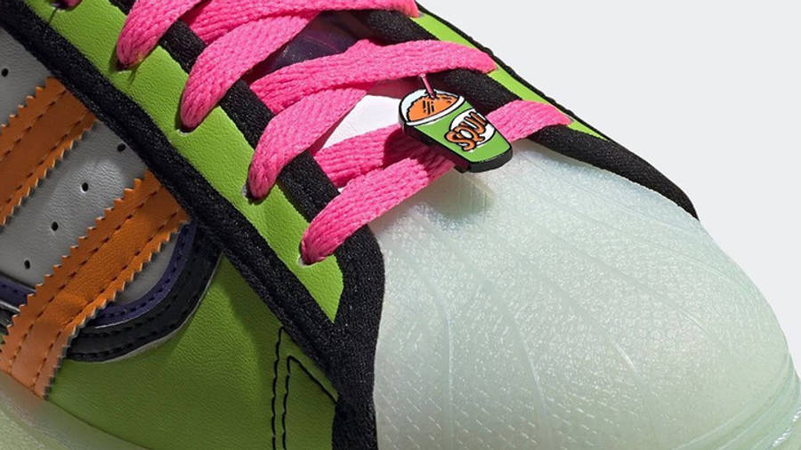 The Simpsons x adidas Superstar Squishee Closeup