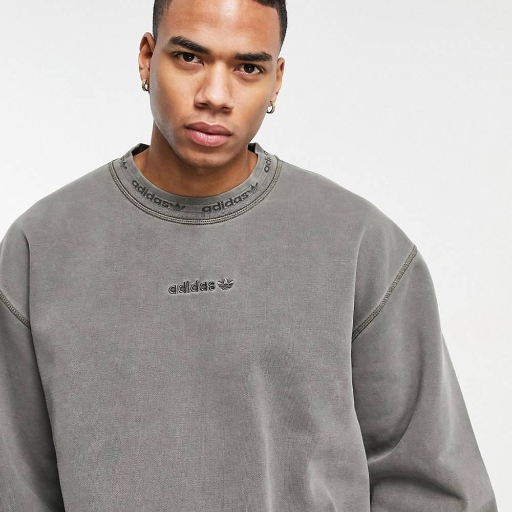 adidas Originals Premium Sweats Overdyed Rib Sweatshirt Olive Detail