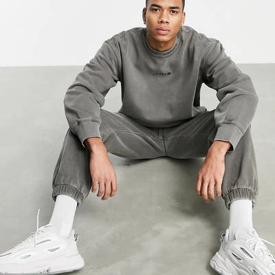 adidas Originals Premium Sweats Overdyed Rib Sweatshirt Olive Full