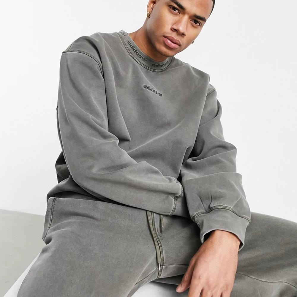 adidas Originals Premium Sweats Overdyed Rib Sweatshirt Olive