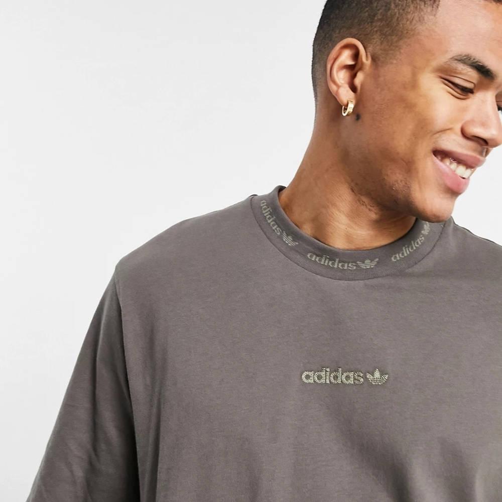 adidas Originals Premium Sweats Overdyed Rib T-shirt Olive