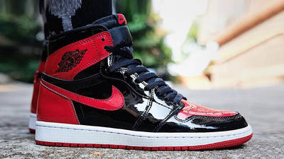 Air Jordan 1 High OG Patent Bred on Foot