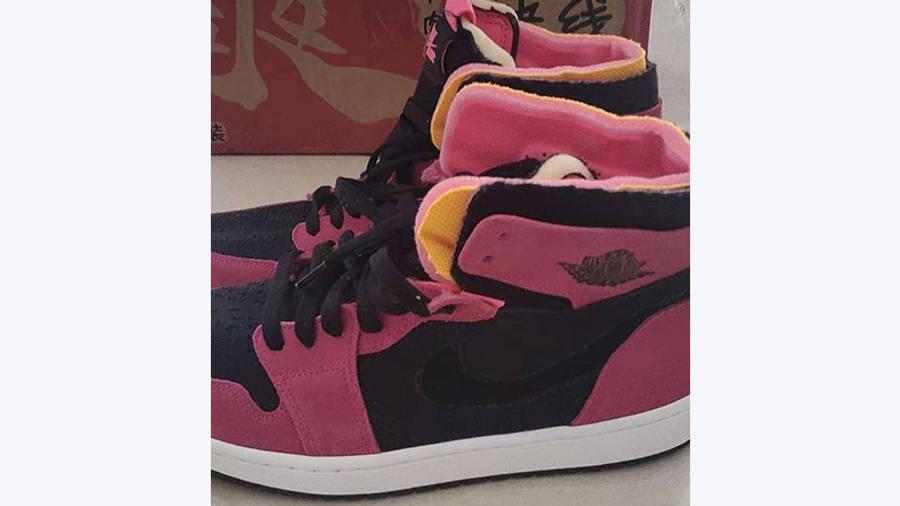 Jordan 1 High Zoom Pink Black closeup