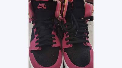 Jordan 1 High Zoom Pink Black tongue and toebox