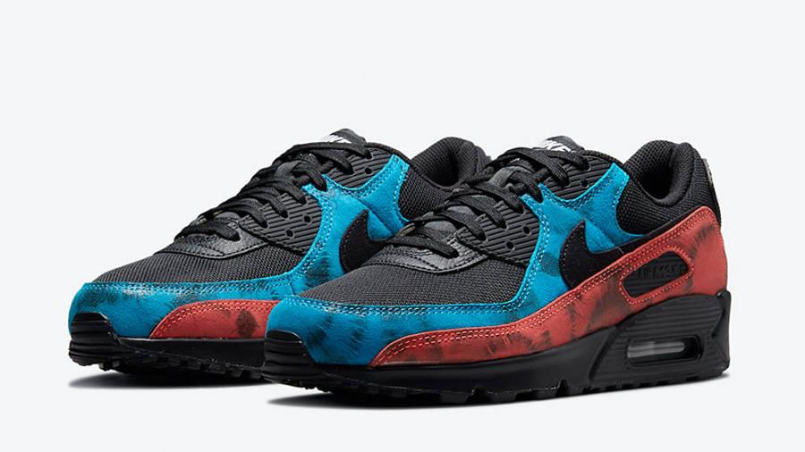 Nike Air Max 90 Black Tie-Dye DJ6888-001 front