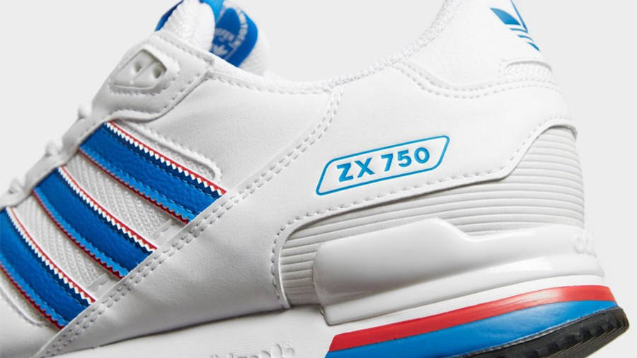 adidas ZX 750 White Blue Closeup