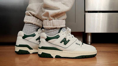 Aime Leon Dore x New Balance 550 White Green on foot