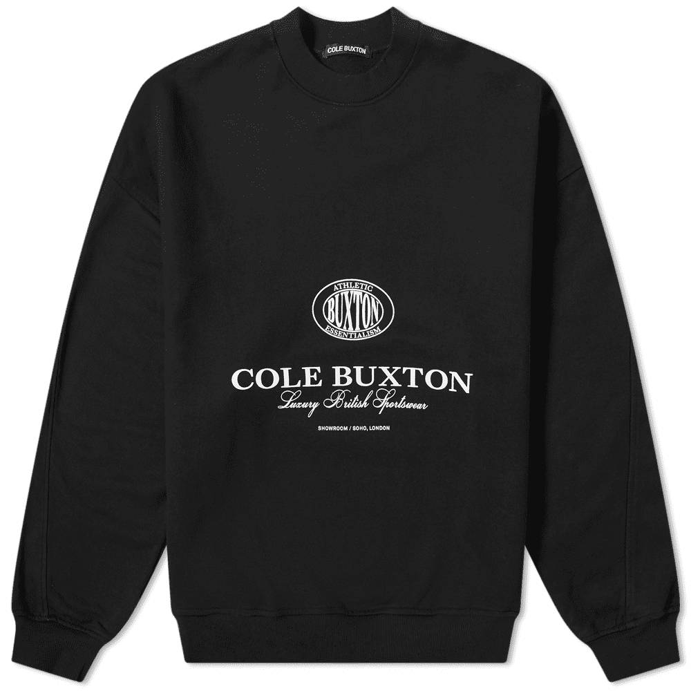 Cole Buxton Crest Logo Crew Sweat Black Front