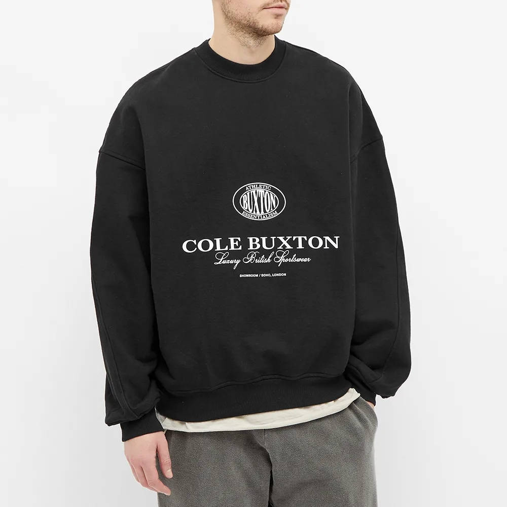 Cole Buxton Crest Logo Crew Sweat Black