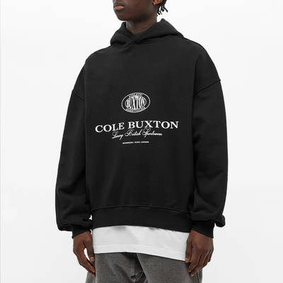 Cole Buxton Crest Logo Hoody Black Front