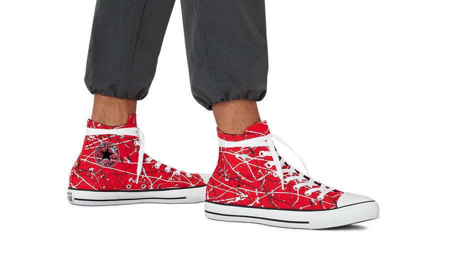 Converse Chuck Taylor All Star Archive Paint Splatter Hi Red On Foot