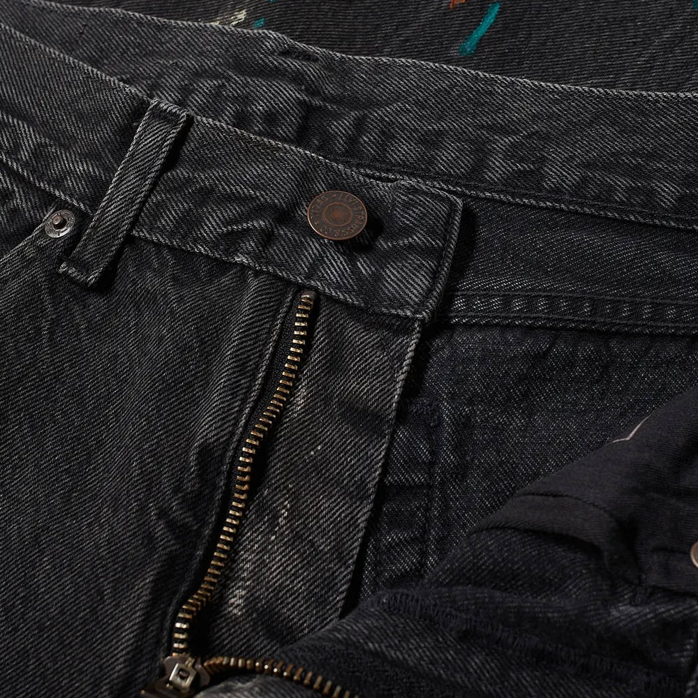 END. x Levi's Painted 505 Regular Selvedge Jean Black Paint Splatter Detail 2