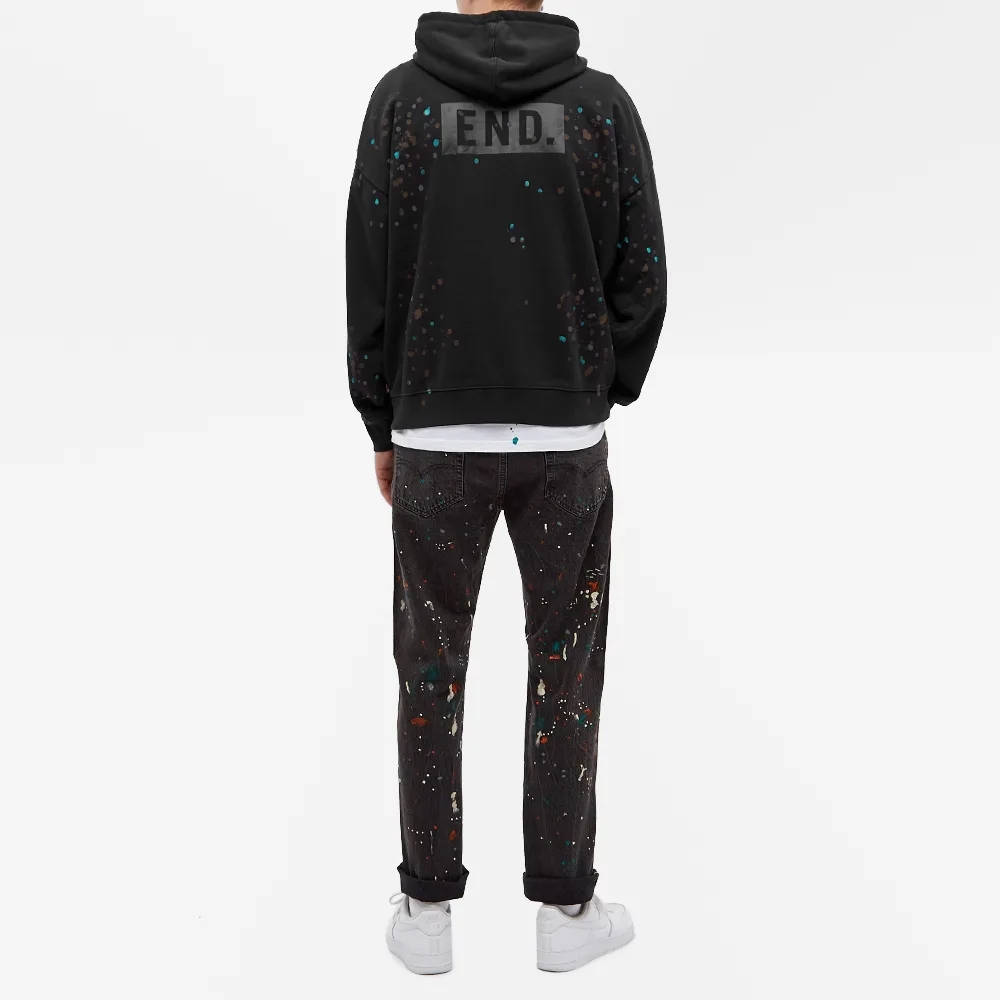 END. x Levis Painted Graphic Hoody Black Paint Splatter Full