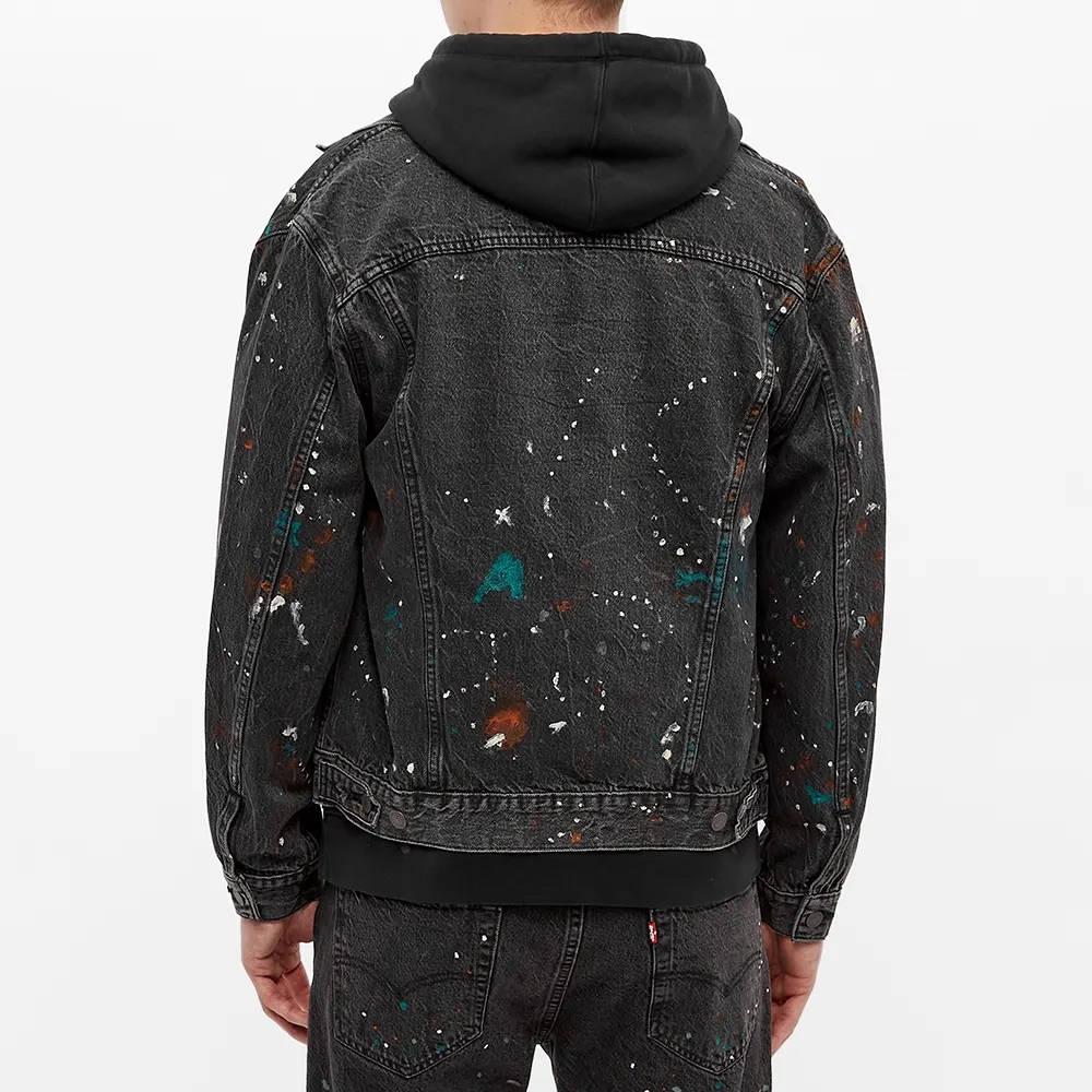 END. x Levi's Painted Selvedge Trucker Jacket Black Paint Splatter Back