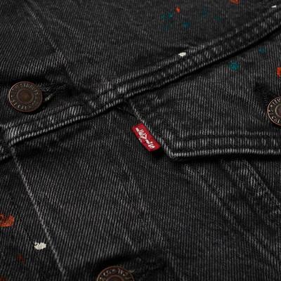 END. x Levi's Painted Selvedge Trucker Jacket Black Paint Splatter Detail 2