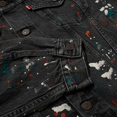 END. x Levi's Painted Selvedge Trucker Jacket Black Paint Splatter Detail 3