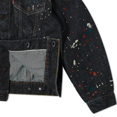END. x Levi's Painted Selvedge Trucker Jacket Black Paint Splatter Detail