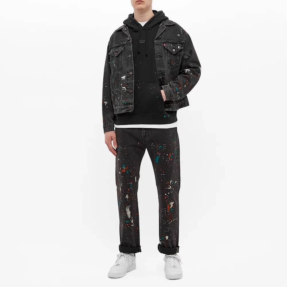 END. x Levi's Painted Selvedge Trucker Jacket Black Paint Splatter Full
