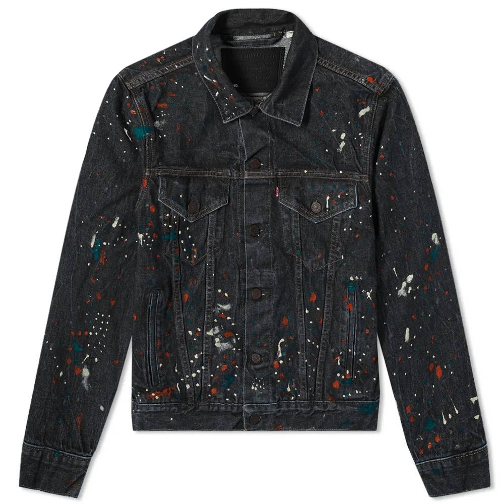 END. x Levi's Painted Selvedge Trucker Jacket Black Paint Splatter