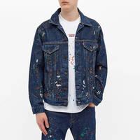 END. x Levi's Painted Selvedge Trucker Jacket Indigo Paint Splatter Front