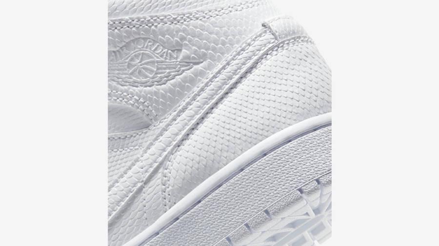 Jordan 1 Mid Snakeskin White Closeup