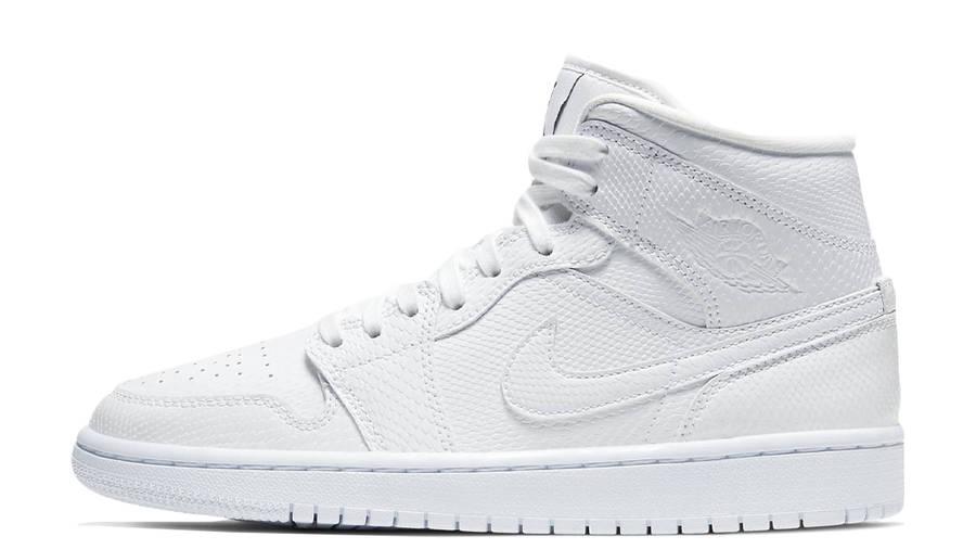 Jordan 1 Mid Snakeskin White