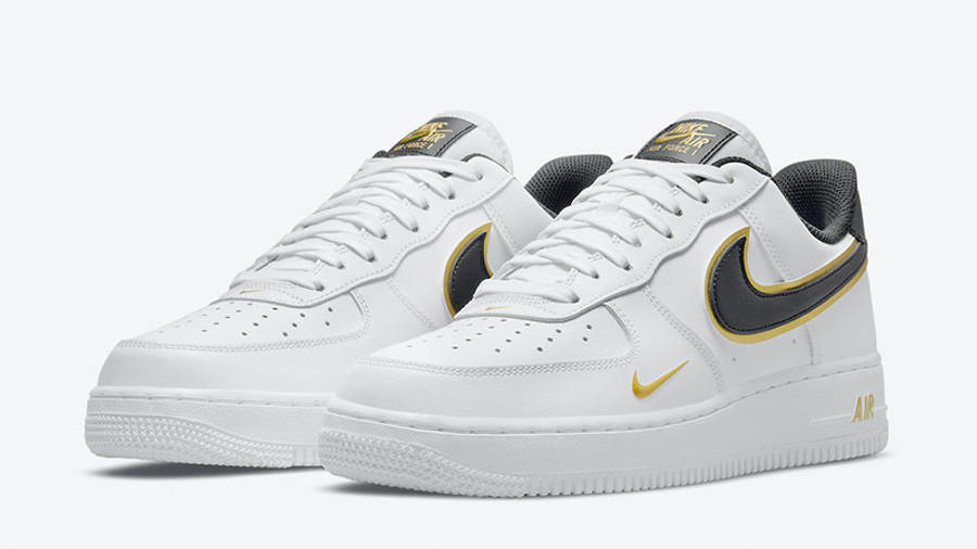 Nike Air Force 1 Gold White Double Swoosh DA8481-001 front