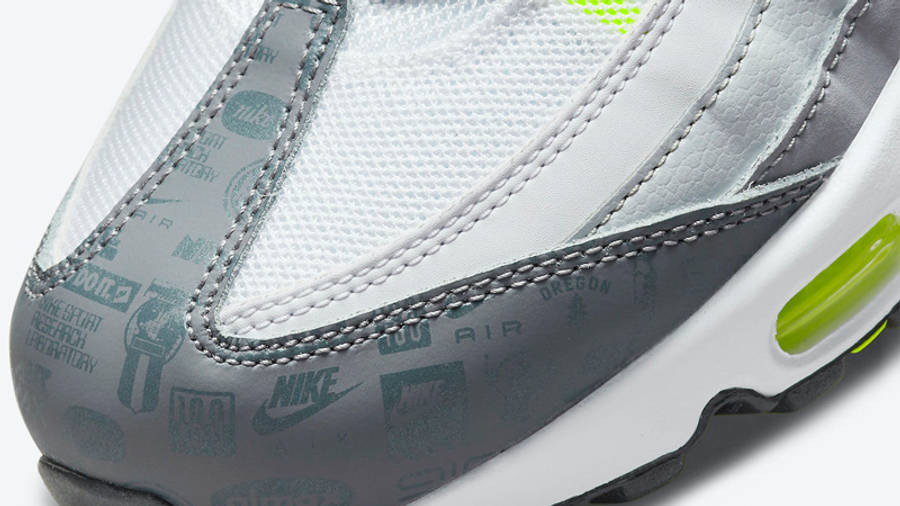 Nike Air Max 95 Grey Volt Logo Front Closeup