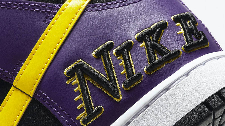 Nike Dunk High EMB Lakers Closeup